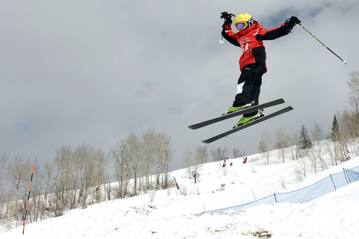Vail skier John Leseur skis Saturday in a moguls event at Steamboat Ski Area.