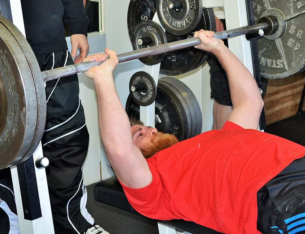 Dillon Fulcher lifts Sunday at Old Town Hot Springs in Steamboat Springs. Fulcher won the first-year powerlifting event.