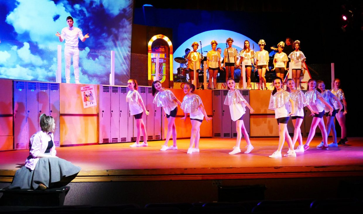 """Many Steamboat Springs elementary and middle school students perform in """"Beauty School Dropout"""" during a dress rehearsal for Grease Wednesday night."""