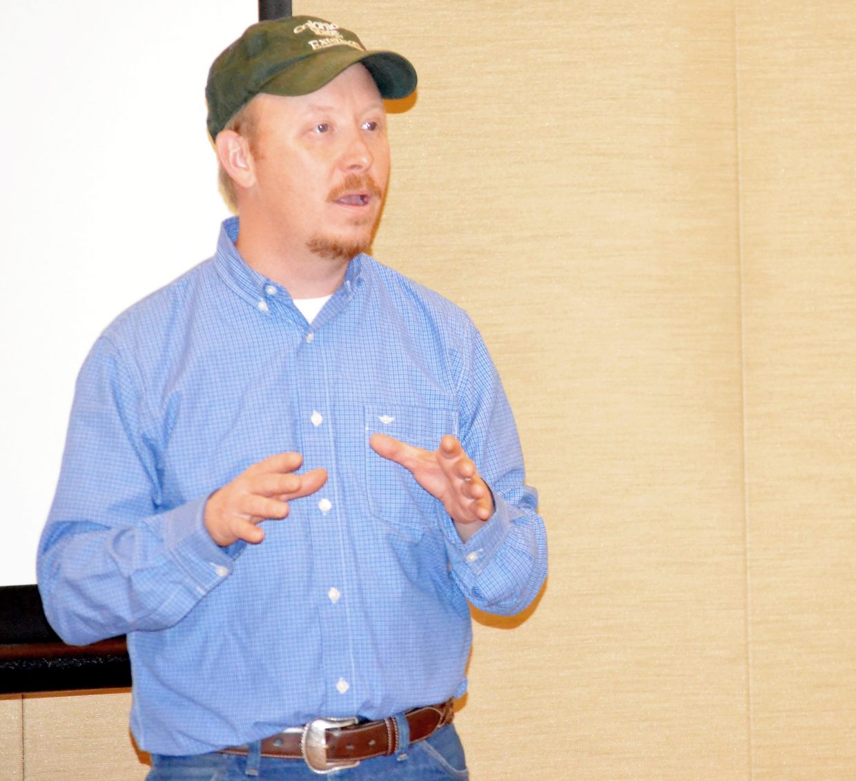 Colorado State University Extension Agent Todd Hagenbuch reminds an Ag Week audience that surveys have show vacationers are drawn to the intact farm and ranch landscapes of the Yampa Valley.