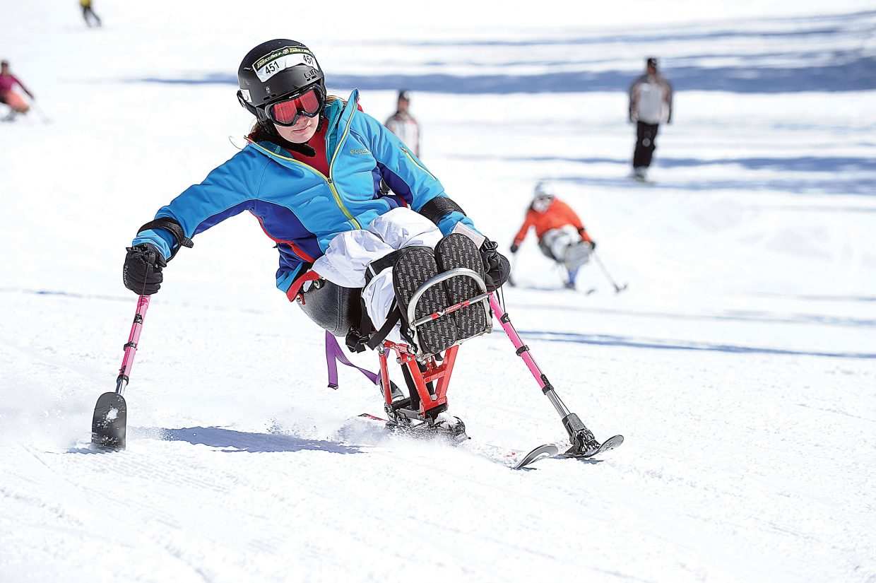 Sit skier Abby Farrell makes her way down the slopes of Steamboat Ski Area in 2014. This weekend's third annual STARS Mountain Challenge is a fundraiser to help support Steamboat Adaptive Recreational Sports programs in Steamboat Springs.