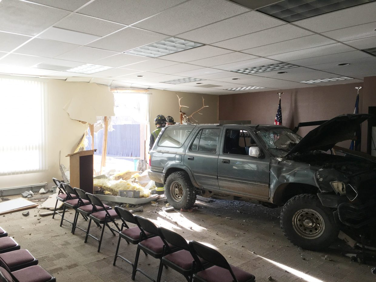 No one was injured when a Toyota 4Runner crashed into the side of Hayden Town Hall at about 5:30 p.m. Friday evening. Police chief Greg Tuliszewski said the driver was going eastbound on U.S. Highway 40 when he had a medical issue, went through the parking lot and crashed into the side of the building where the town council holds their meetings. A town employee was on the other side of the building when the crash occurred. Fire chief Dal Leck said the driver was not seriously injured and was taken to the hospital by a friend.