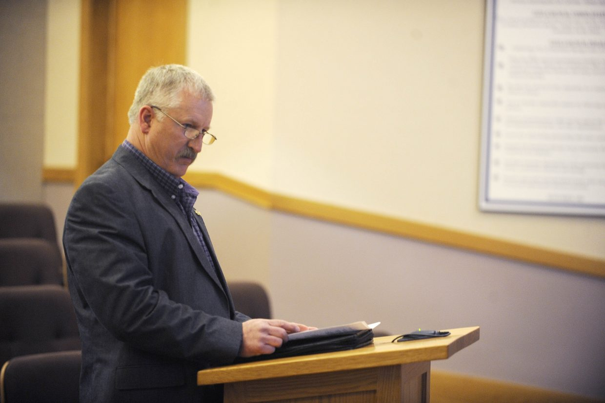 Routt County Sheriff Garrett Wiggins speaks during the public comment portion of Wednesday's emergency Steamboat Springs City Council meeting to discuss the city's investigation into alleged police misconduct.