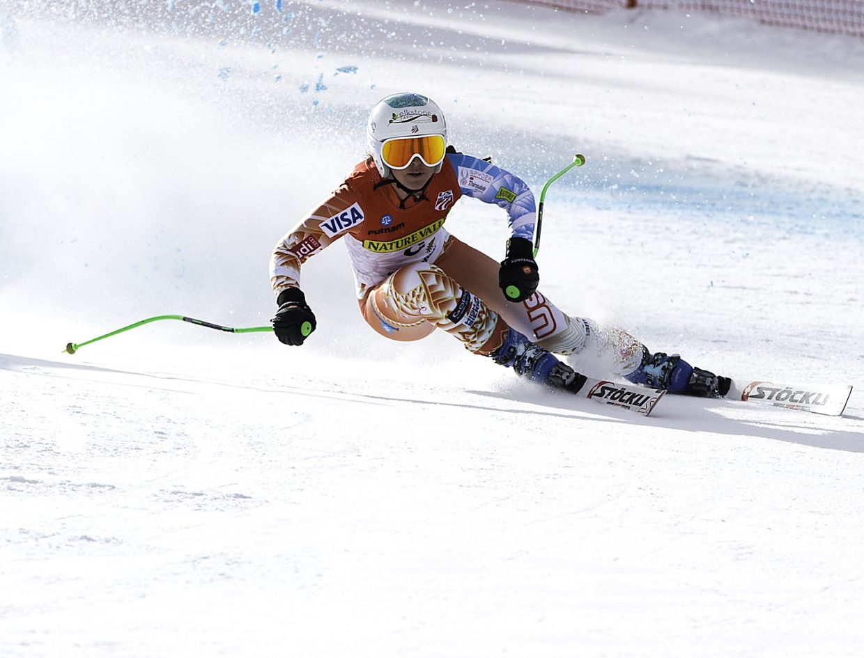 Steamboat Springs and U.S. Ski Team skier Anna Marno cuts down the super-G course at the U.S. Alpine National Championships in Sun Valley, Idaho. Marno went on to win the race, capturing the national title.