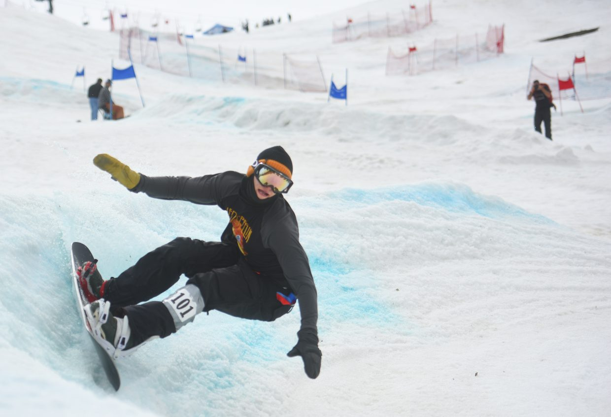 Steamboat Springs snowboarder Taylor Gold rips around a turn Friday at the Slash and Burn Banked Slalom in Steamboat Springs. Gold went on to finish second on the men's side.