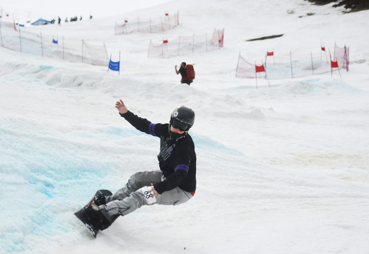 Maddy Schaffrick, a coach with Steamboat Springs Winter Sports Club, flies down the face of Howelsen Hill during last year's Slash and Burn Banked Slalom race.