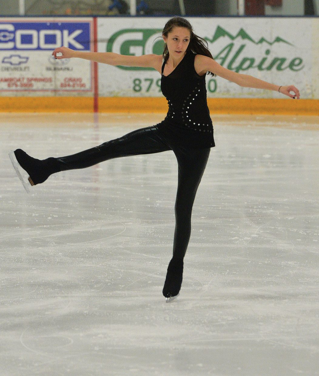 """Steamboat Springs Figure Skating Club member Gillian Cook performs to """"Rolling in the Deep"""" during a rehearsal for Sunday's Spring Show. The show is scheduled to begin at 4:30 p.m. at the Howelsen Hill Ice Arena. Admission is free, but the figure skating club will be asking for donations to help support its programs."""