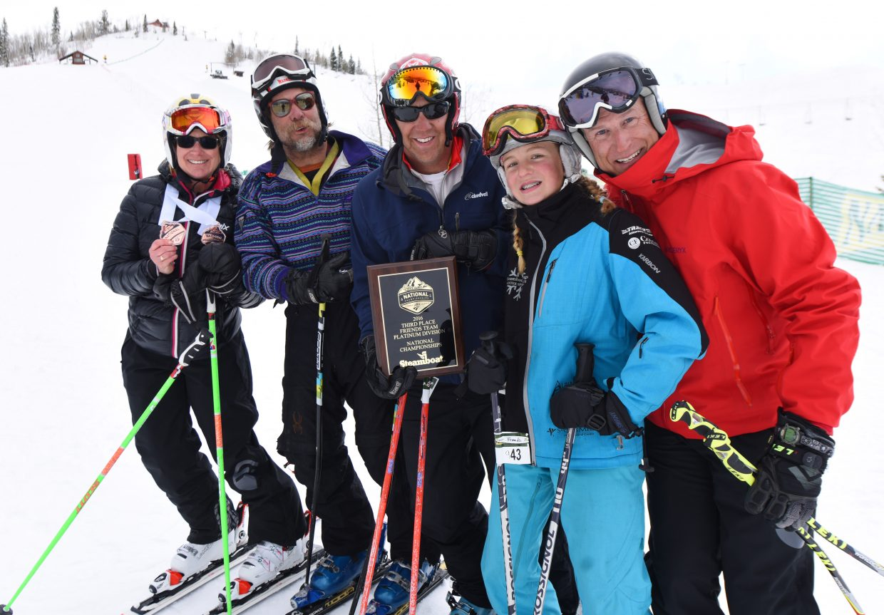 Linda Whittle, Tim Magill, Pat Arnone, Tess Arnone and Rolf Meyer show off their plaque after finishing third in platinum division of the NASTAR friends race on Saturday at Steamboat Ski Area.