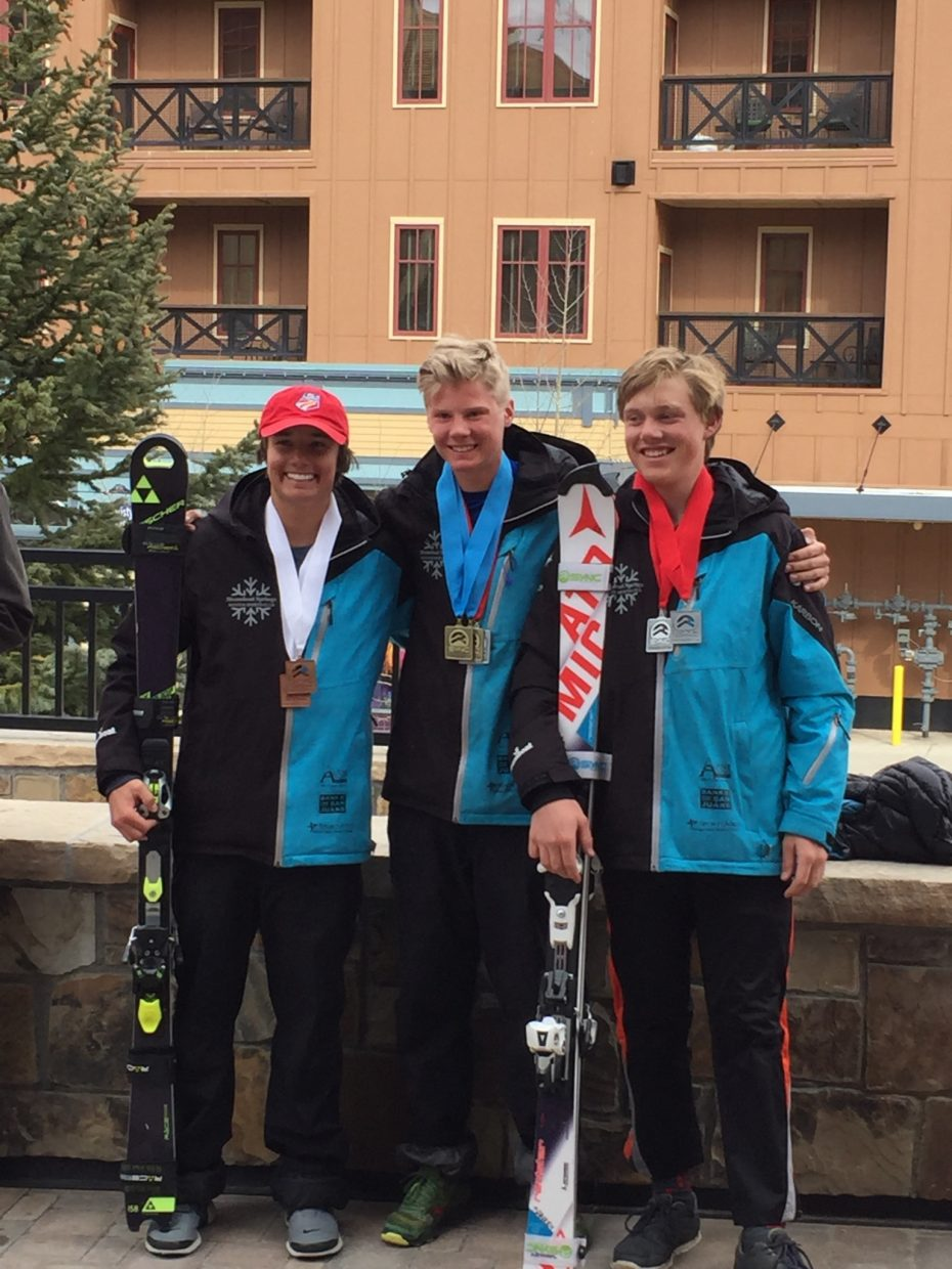 Noah Riemenschneider was first, Colton Sankey second and Nico Richeda third in a slalom race this weekend in Breckenridge.