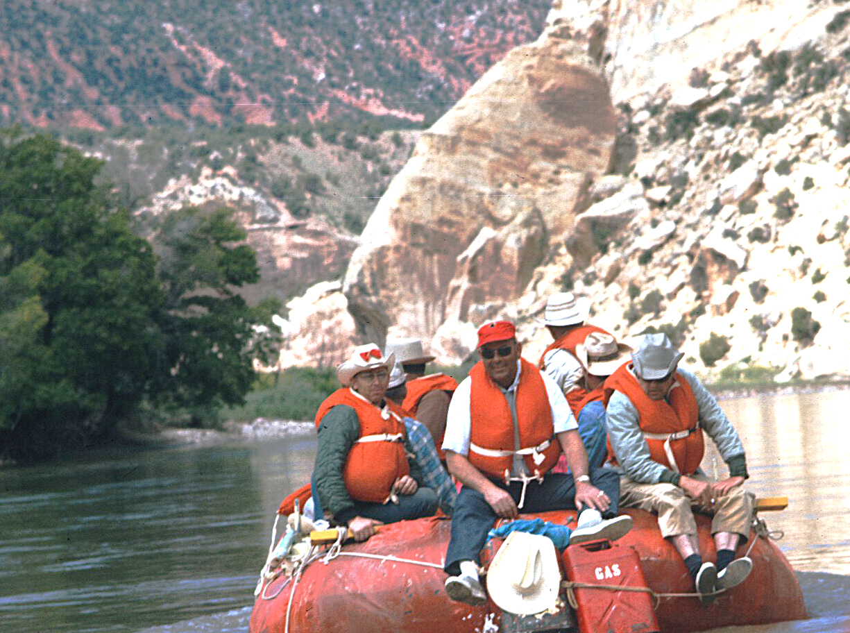 Dr. Elmer Monahan took this photo of a raft trip on the Green River in the 1960s. The group included the Moffat County Sheriff Posse as well as others. The staff at the Museum of Northwest Colorado would love to have help in identifying the numerous photographs from this trip.