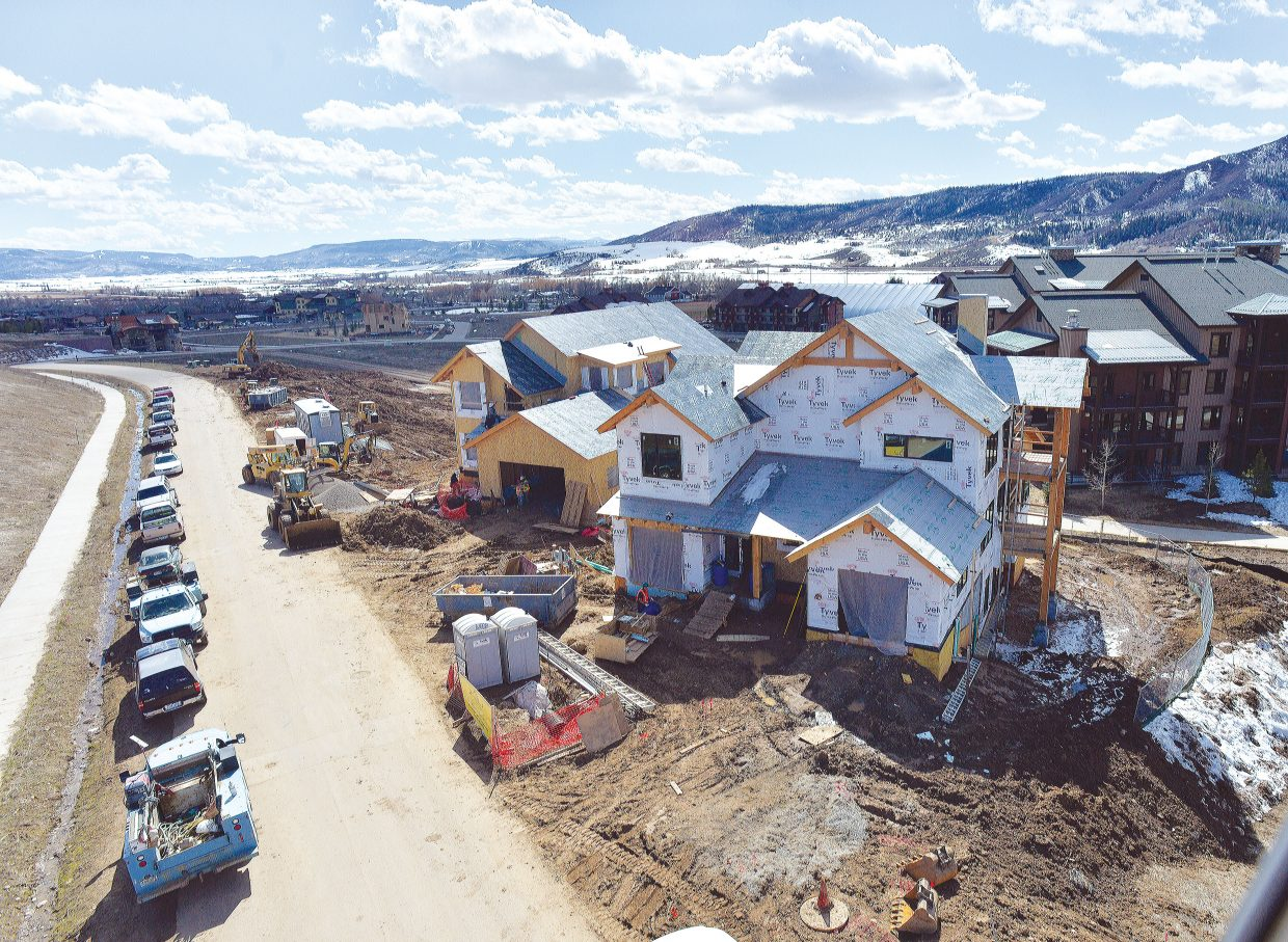 Many buildings are starting to take shape in the Wildhorse area. The first part of Homestead at Wildhorse includes five three- and four-bedroom residences in two buildings and is scheduled for completion along Bangtail Way in June or July.