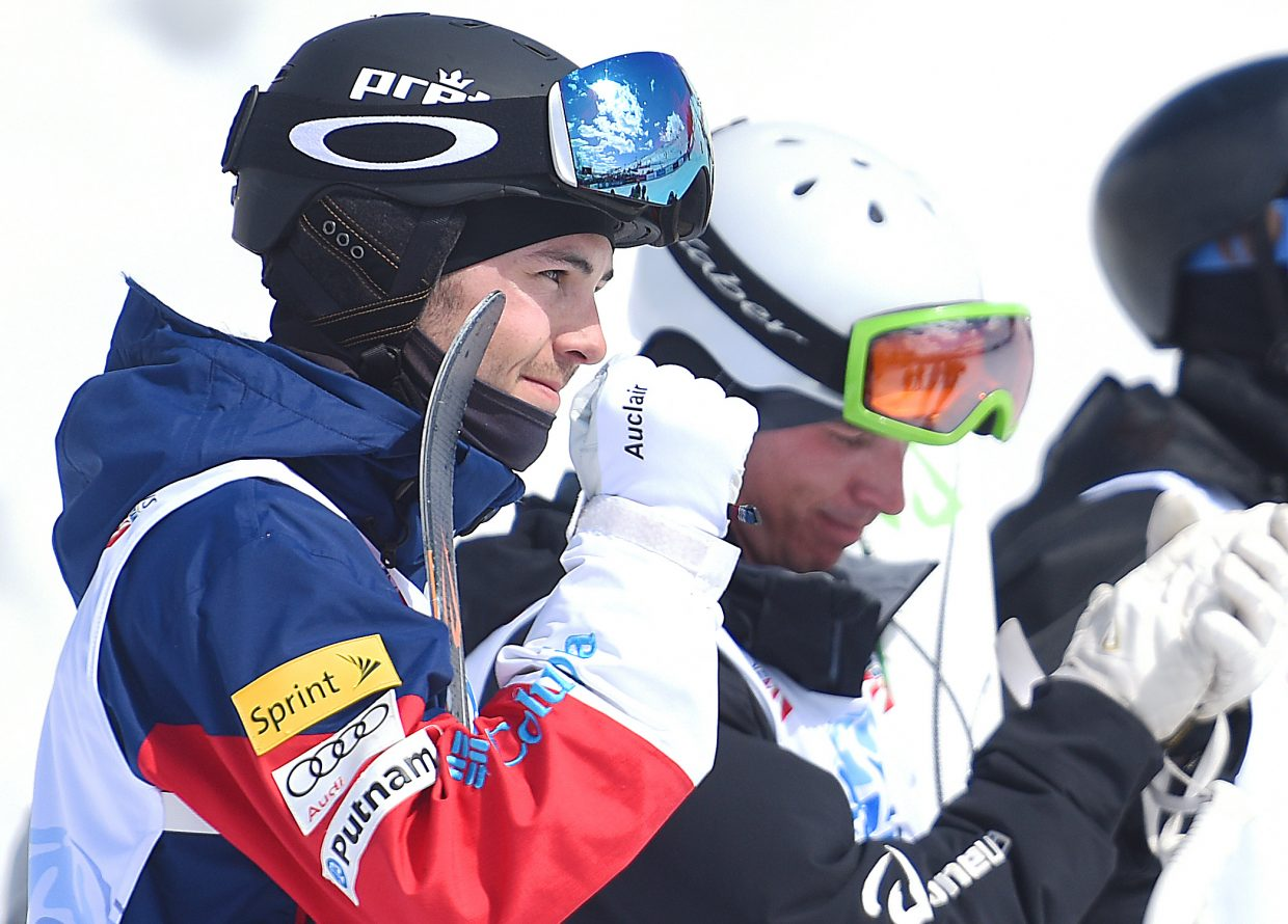 Troy Murphy pumps his fist after hearing his score Friday during the U.S. Freestyle Championships in Steamboat Springs. Murphy nailed his run, setting him up in first place. He went on to win his first national championship.