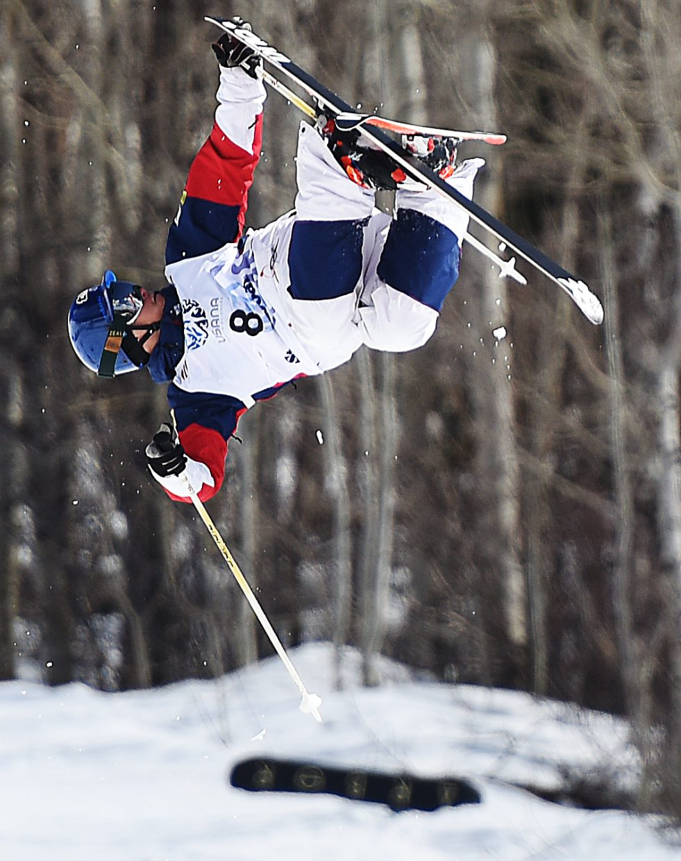 Joe Discoe spins through a trick Friday at the U.S. Freestyle Nationals in Steamboat Springs. He went on to finish second in the men's moguls competition.