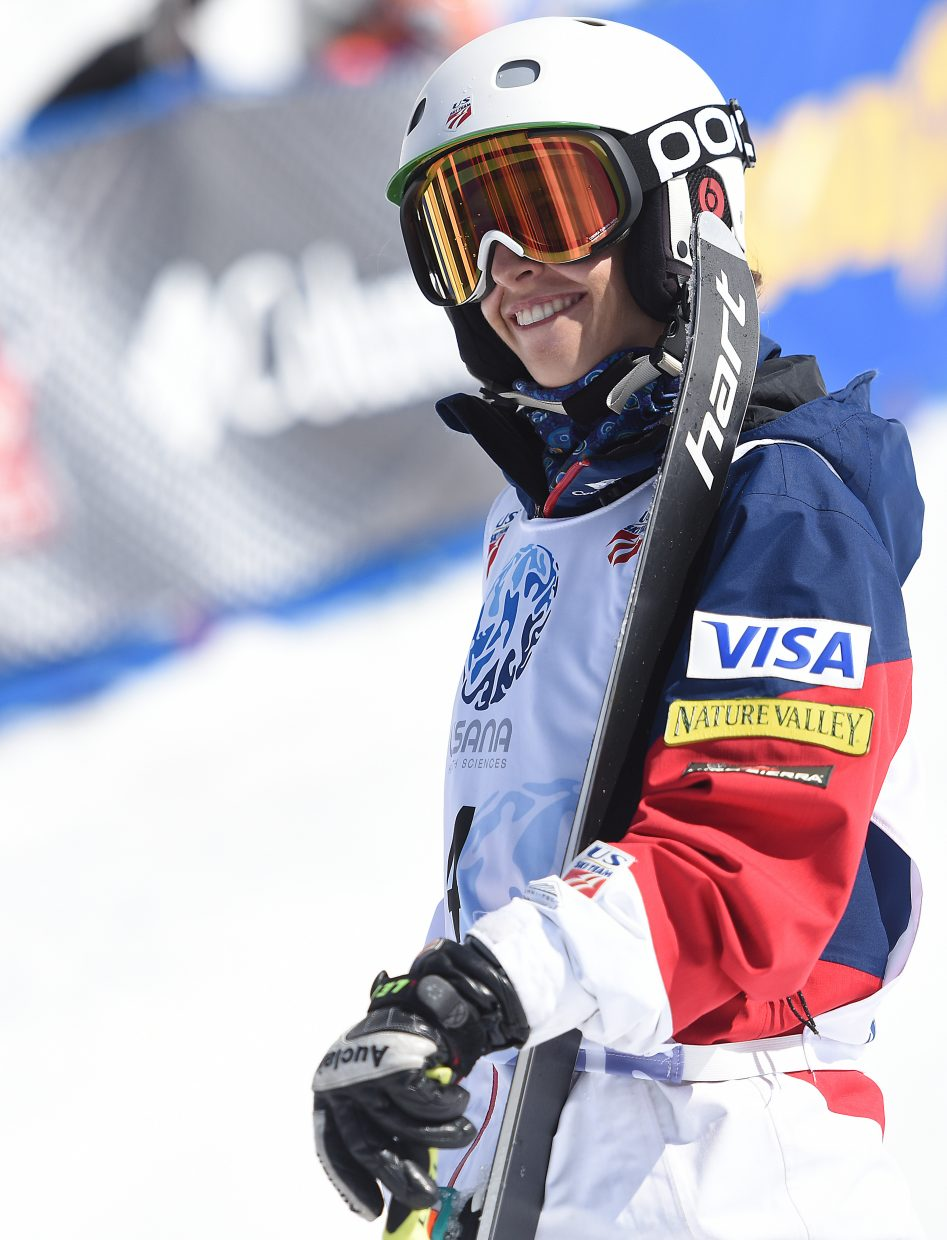 Sophia Schwartz smiles wide after a strong moguls run Friday at the U.S. Freestyle National Championships in Steamboat Springs.