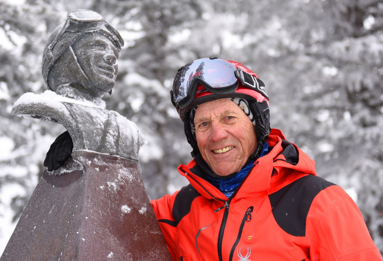 Loris Werner poses with a bronze bust of his brother, Buddy, on Mount Werner. Loris said he's proud of Buddy's legacy in Steamboat Springs. (Joel Reichenberger/staff)