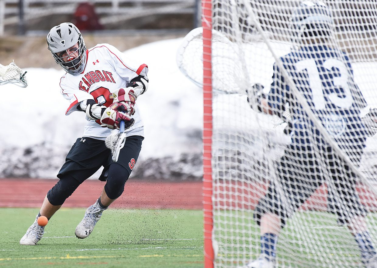 Steamboat Springs sophomore Davis Petersen scores in the first quarter of Monday evening's boys lacrosse game against Vail Mountain. The Sailors rolled to a 22-6 victory in the game to even the team's record at 2-2 for the season.