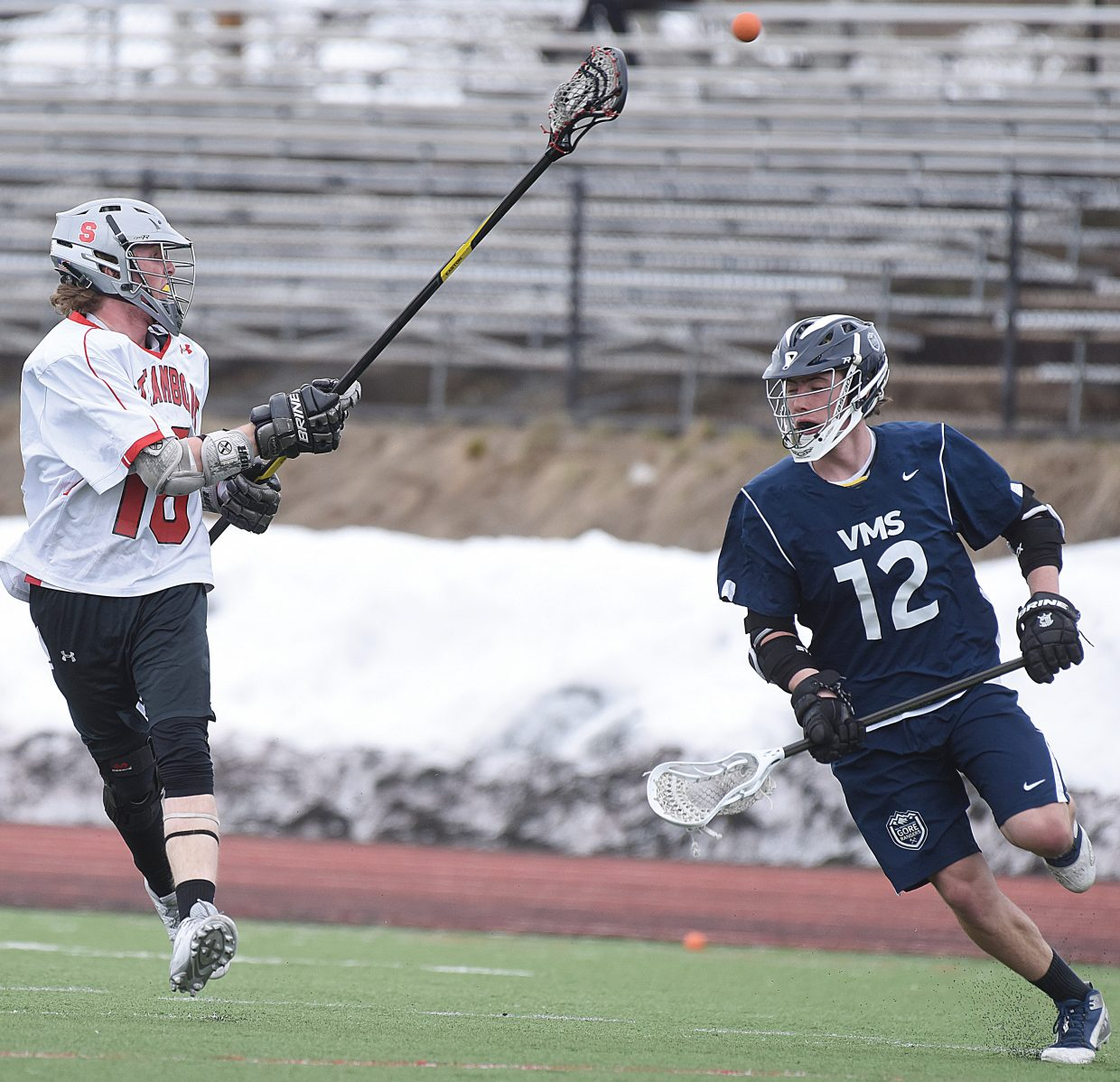 Defenseman Jordan Gorr passes the ball to a teammate as the Steamboat Springs Sailors hosted the Vail Mountain Gore Rangers at Gardner Field earlier this season.