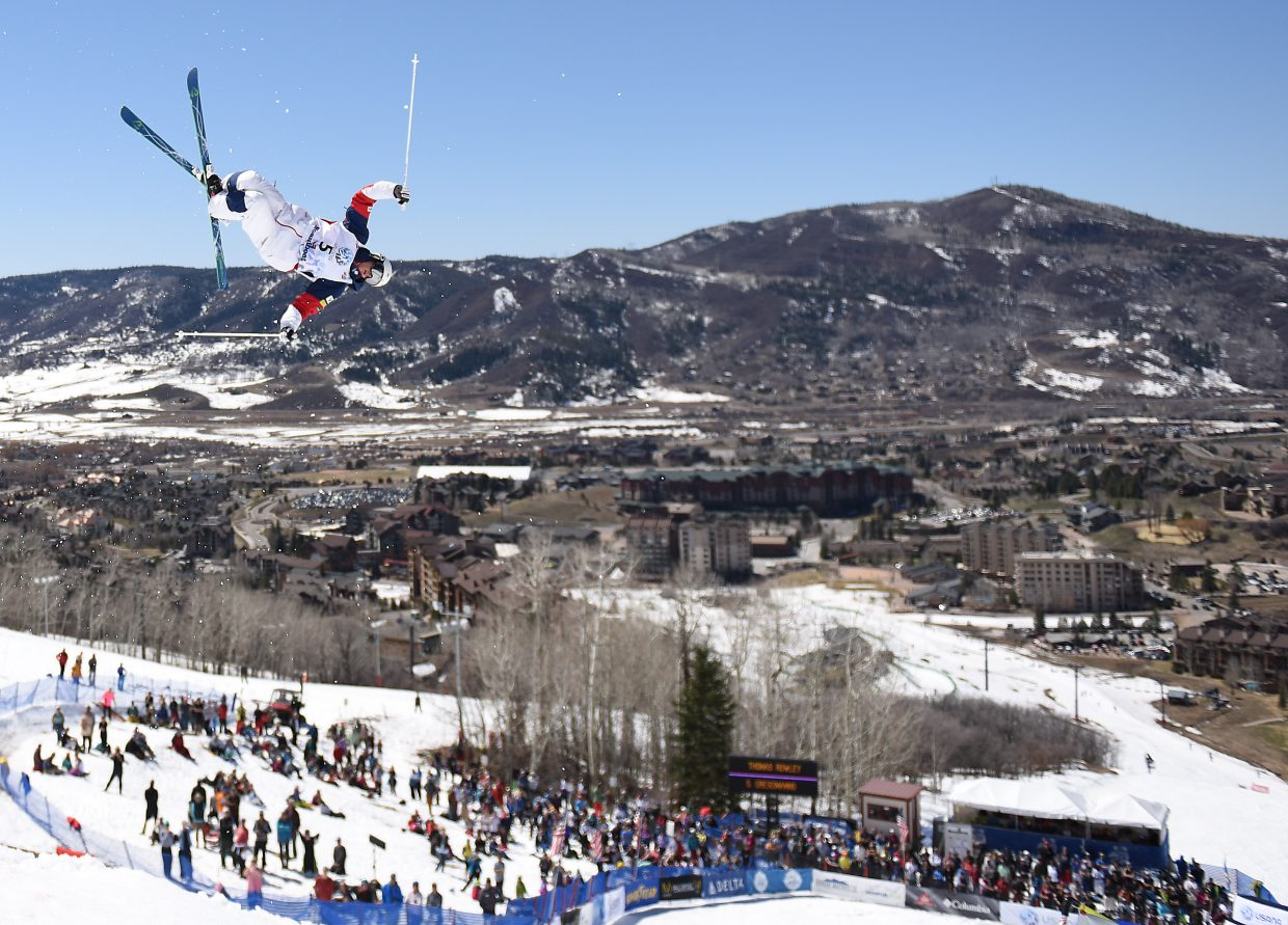 Thomas Rowley flies high at Sunday's U.S. Freestyle National Championships in Steamboat Springs.