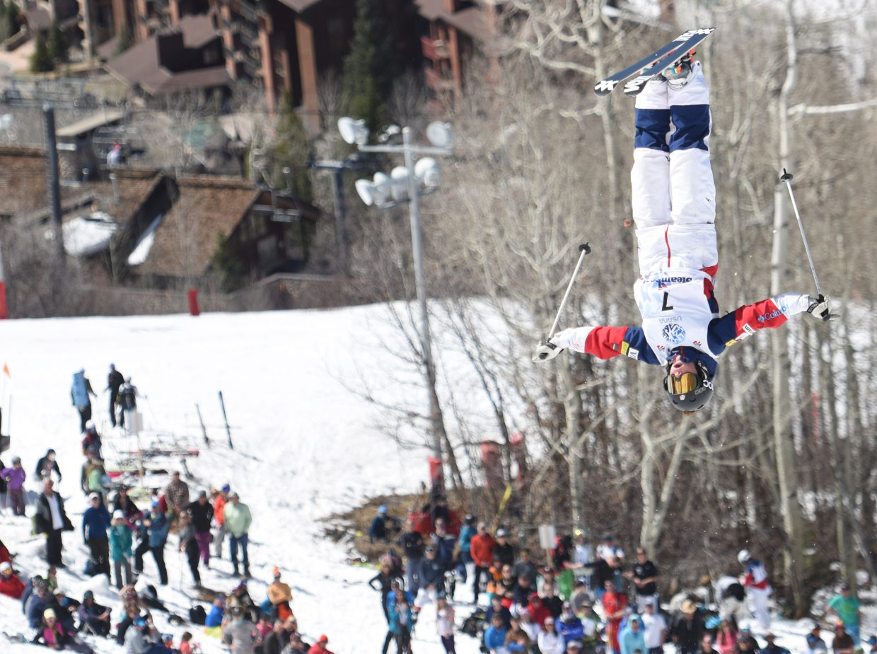 Nessa Dziemian flips in front of the crowd at Sunday's U.S. Freestyle National Championships in Steamboat Springs.