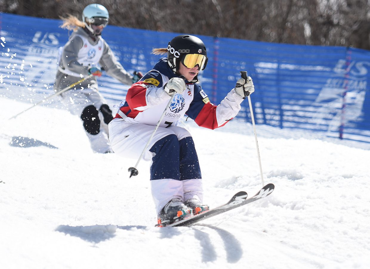 Women's dual moguls champion Nessa Dziemian skis at Sunday's U.S. Freestyle National Championships in Steamboat Springs.