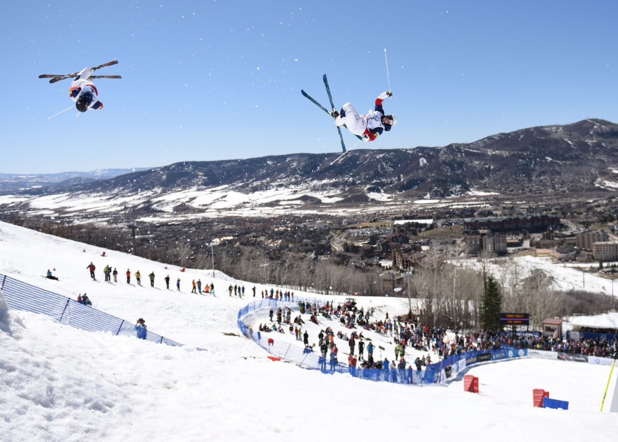Troy Murphy, left, and Thomas Rowley compete in Sunday's dual moguls competition at the U.S. Freestyle National Championships in Steamboat Springs.