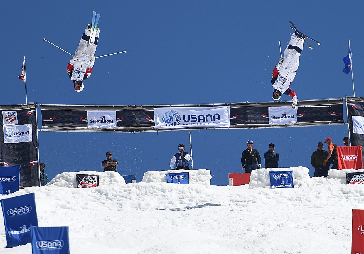 Troy Tully, left, and Jeremy Cota laugh from the first kicker at Sunday's U.S. Freestyle National Championships in Steamboat Springs.