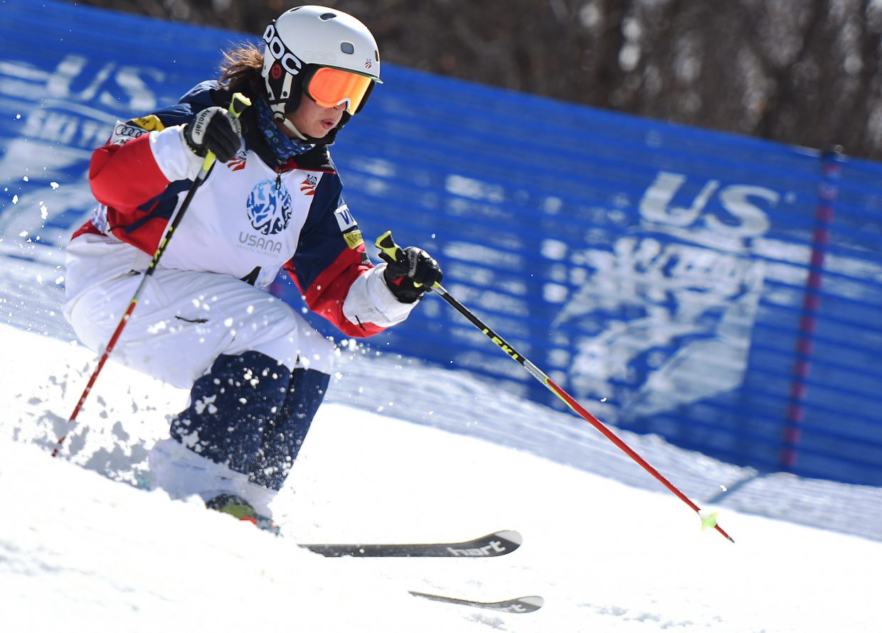 Steamboat skier Sophia Schwartz cuts down the hill at Sunday's U.S. Freestyle National Championships in Steamboat Springs.