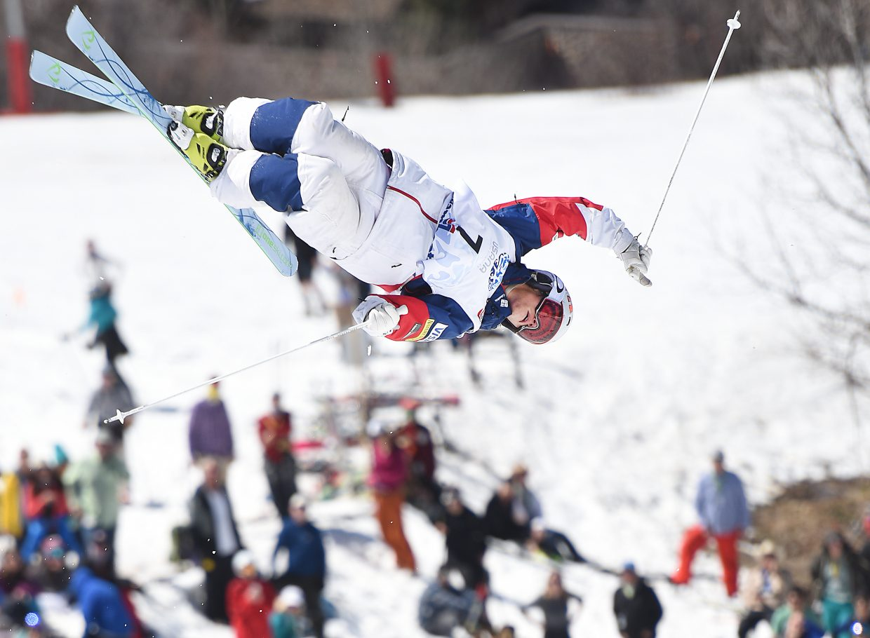 Troy Tully spins through a trick at Sunday's U.S. Freestyle National Championships in Steamboat Springs.
