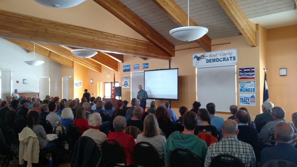 Routt County Commissioner Tim Corrigan speaks at the Routt County Democratic Assembly Saturday. Corrigan was elected unanimously by 100 energized county Democrati delegates to represent the Democratic Party as its candidate for county commissioner, District 1.