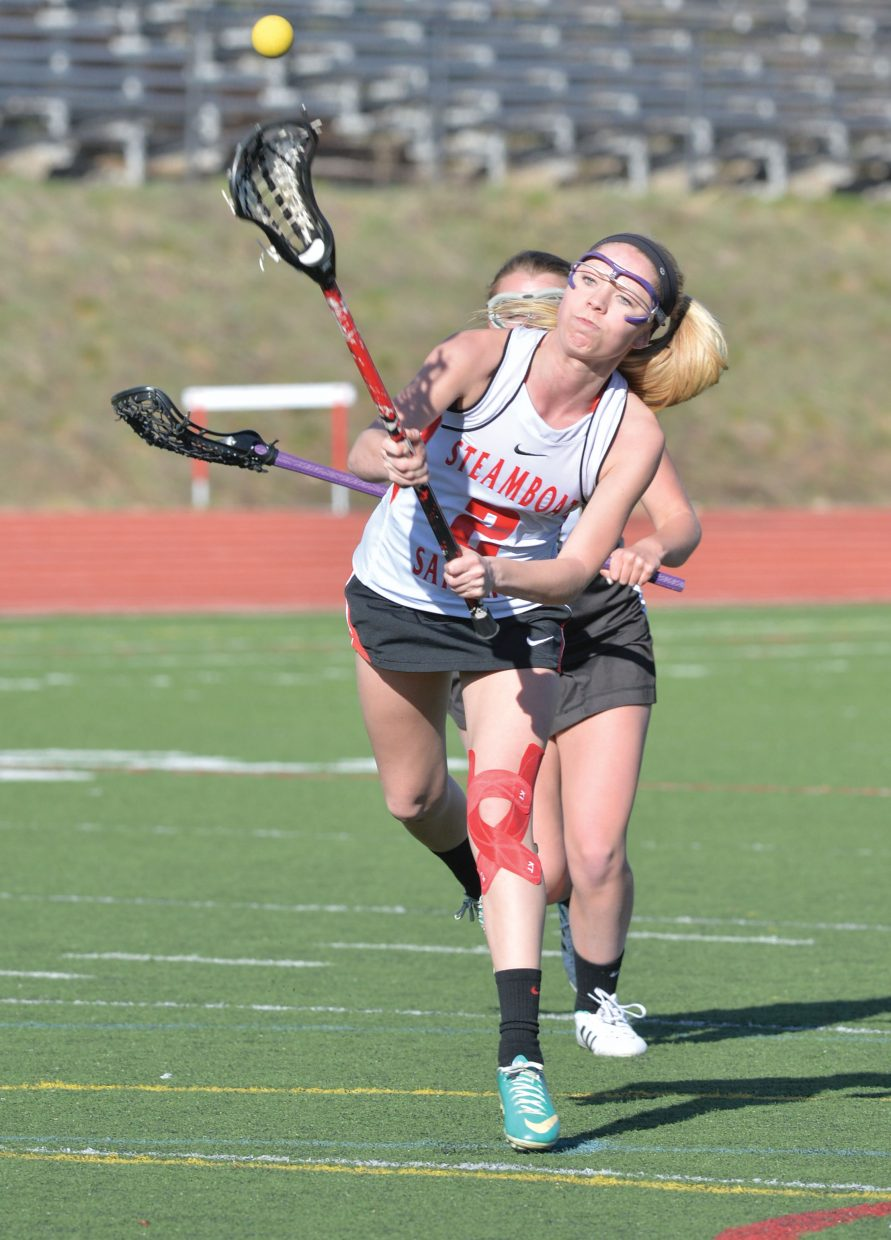 Steamboat Springs freshman Wyleigh Myers fires a shot on goal in the second half of Monday afternoon's girls lacrosse game against Battle Mountain at Gardner Field. The Sailors lost 15-3 to the visiting team in the first home contest of the season for Steamboat. The girls will be back in action at 4 p.m. Friday against Eagle Valley.