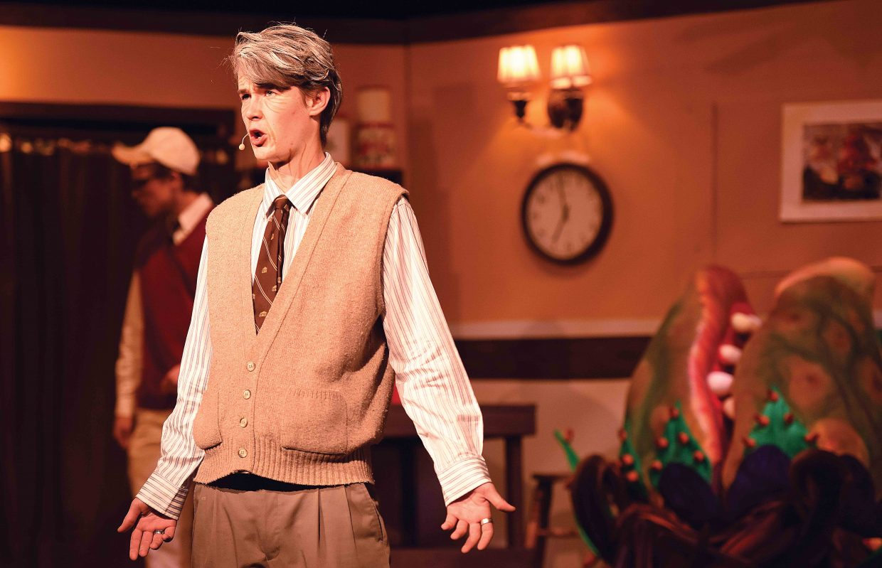 "Charles Leech plays the part of Mr. Mushnik while rehearsing a scene from the Steamboat Springs High School's presentation of ""Little Shop of Horrors."" The show will open at 7 p.m. Thursday in the high school auditorium. Additional shows are set for 7 p.m. Friday and 2 p.m. and 7 p.m. Saturday."