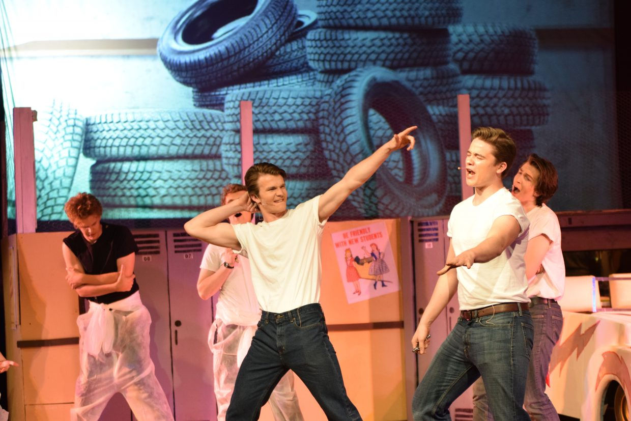 Colin Musselman, left, and Charlie Harrington during a dress rehearsal for Steamboat Springs High School's Grease.