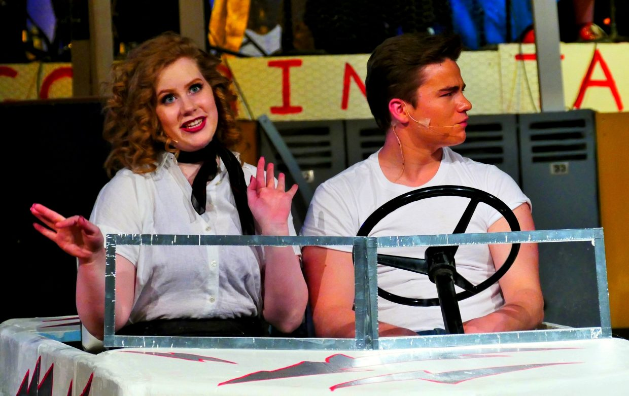 Hannah Heil and Charlie Harrington as Rizzo and Danny Zuko in the Steamboat Springs High School production of Grease.