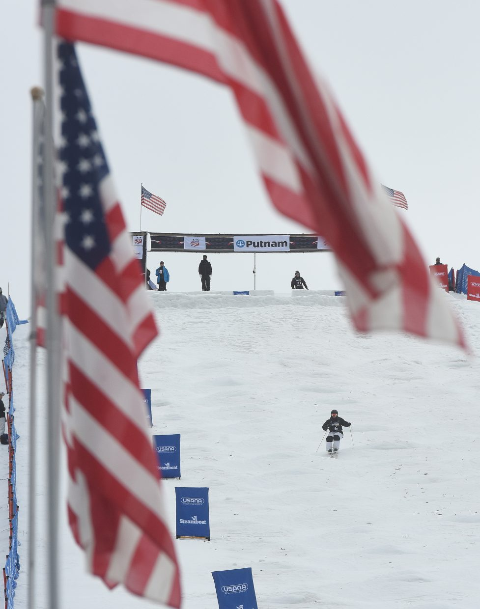 Avital Shimko flies down Voodoo run on Thursday at Steamboat Ski Area during the U.S. Freestyle National Championships. Shimko finished with the day's second-best score and advanced to Friday's finals.