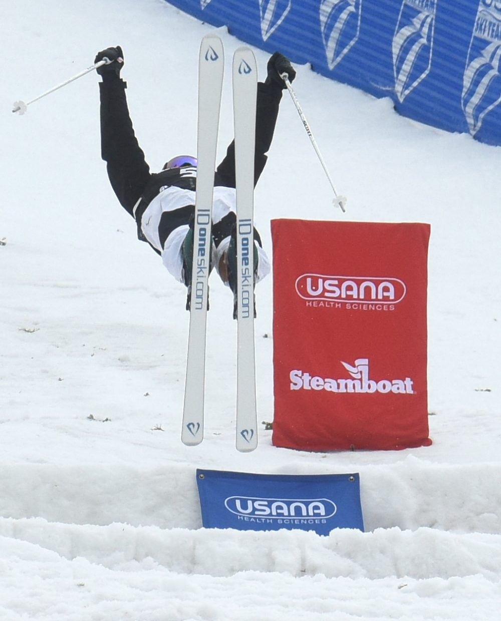 Steamboat's Lane Stoltzner launches from the bottom air Thursday during the U.S. Freestyle National Championships at Steamboat Ski Area.
