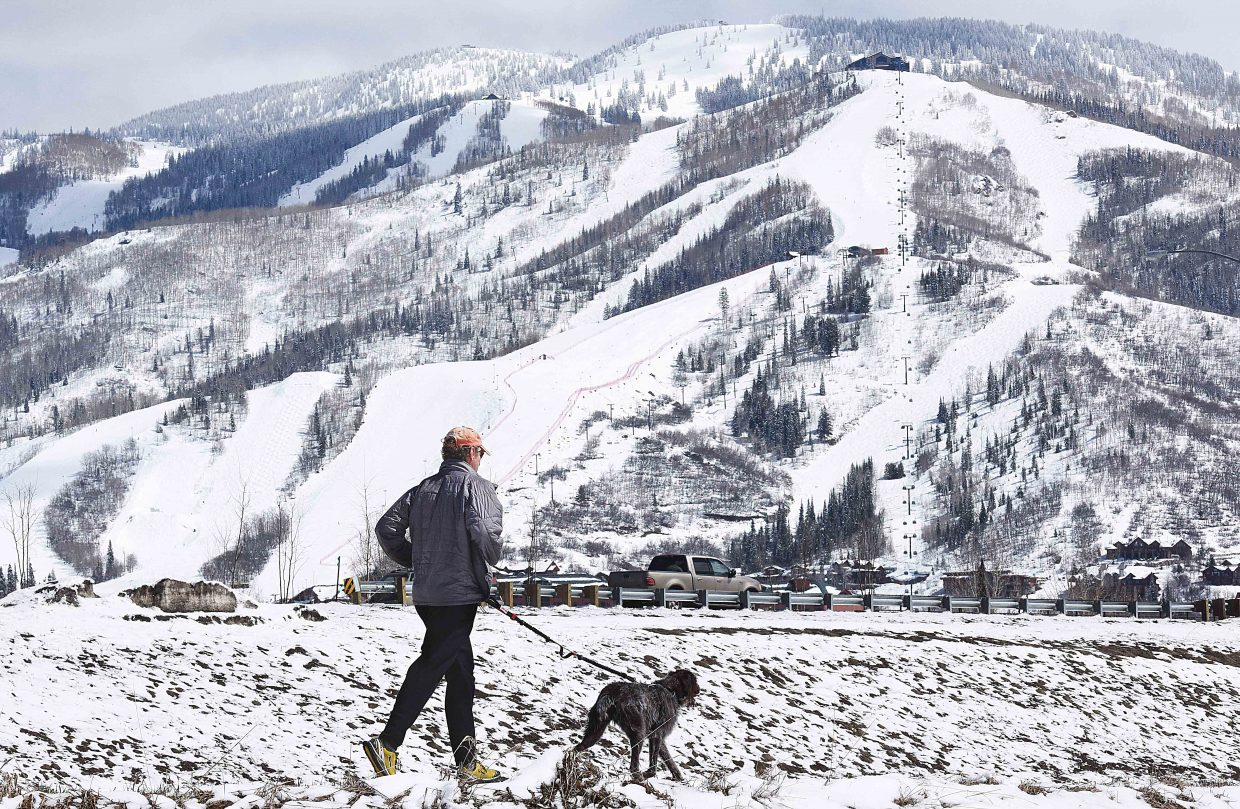 Mike Wallisch and his dog, Molly, run along the Yampa River Core Trail Friday afternoon. After several days of wet, cold weather, it seemed as though spring had returned to the valley Friday.