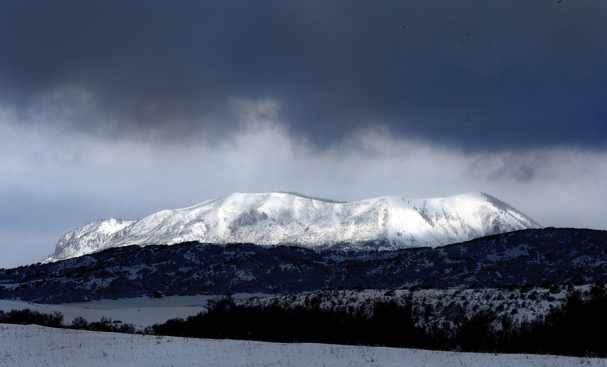 Fresh snow from the most recent storm covers the Sleeping Giant west of Steamboat Springs.