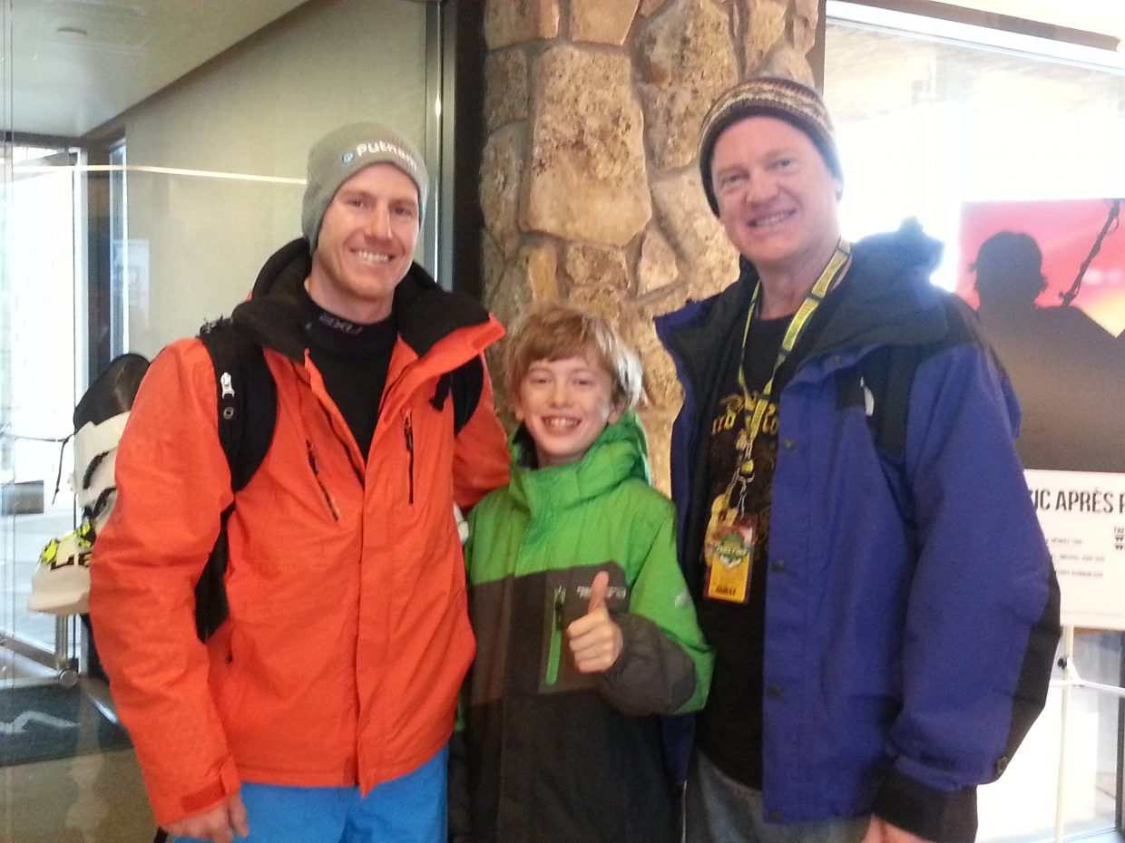Jackson Lewer, center, meets Olympic gold medalist Ted Ligety, left, at the 2014 NASTAR National Championships in Aspen. Also pictured is Jackson's dad, Mark Lewer.