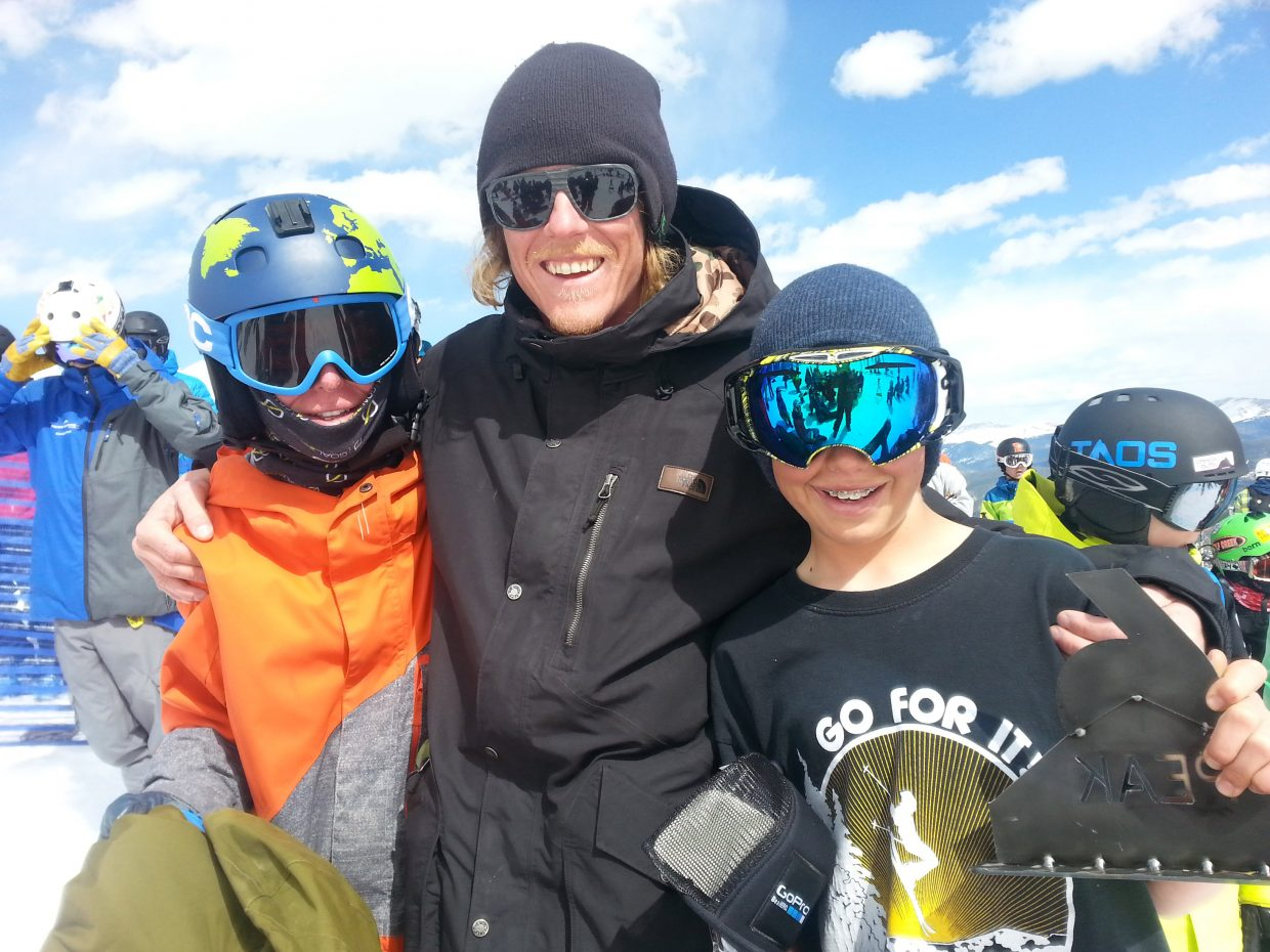 Parker Temple, left, poses with Steamboat Springs Winter Sports Club coach Jon Dean and Bryce Zetzman at last weekend's big mountain skiing competition in Breckenridge. Zetzman placed second 2nd and Temple sixth.