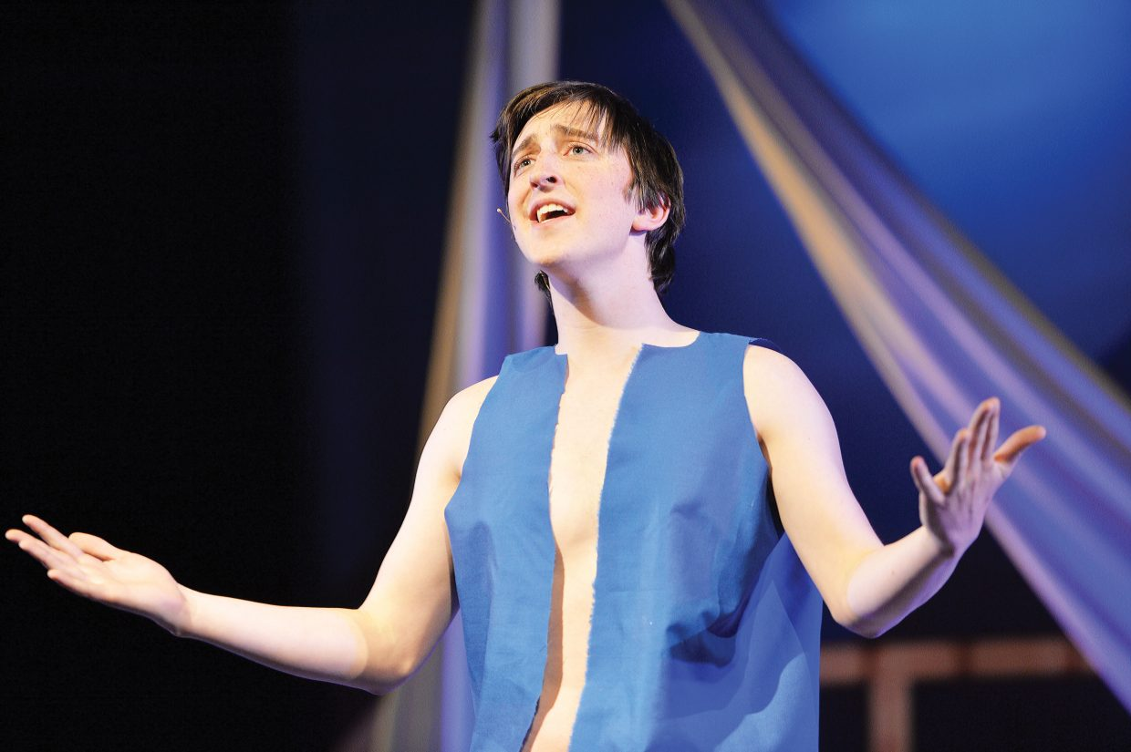 """Charlie Tisch plays the role of Joseph during a rehearsal for the Steamboat Springs High School's spring musical """"Joseph and the Amazing Technicolor Dreamcoat"""", which will be in the spotlight this week. The students will take the stage at 6 p.m. Thursday and Friday. There will also be 2 p.m. and 6 p.m. performances on Saturday. All the performances will be held at the Steamboat Springs High School auditorium."""