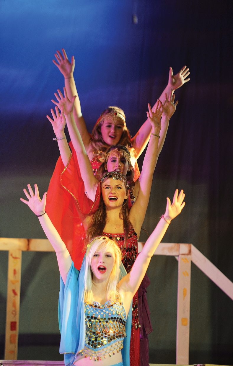"""Performers Lilly Spiess, Libby Lukens, Reagan Mertz and Amanda Walker rehearse one of the big musical scenes in the Steamboat Springs High School's production of """"Joseph and the Amazing Technicolor Dreamcoat"""". The students will take the stage at 6 p.m. Thursday and Friday. There will also be 2 p.m. and 6 p.m. performances on Saturday. All the performances will be held at the Steamboat Springs High School auditorium."""
