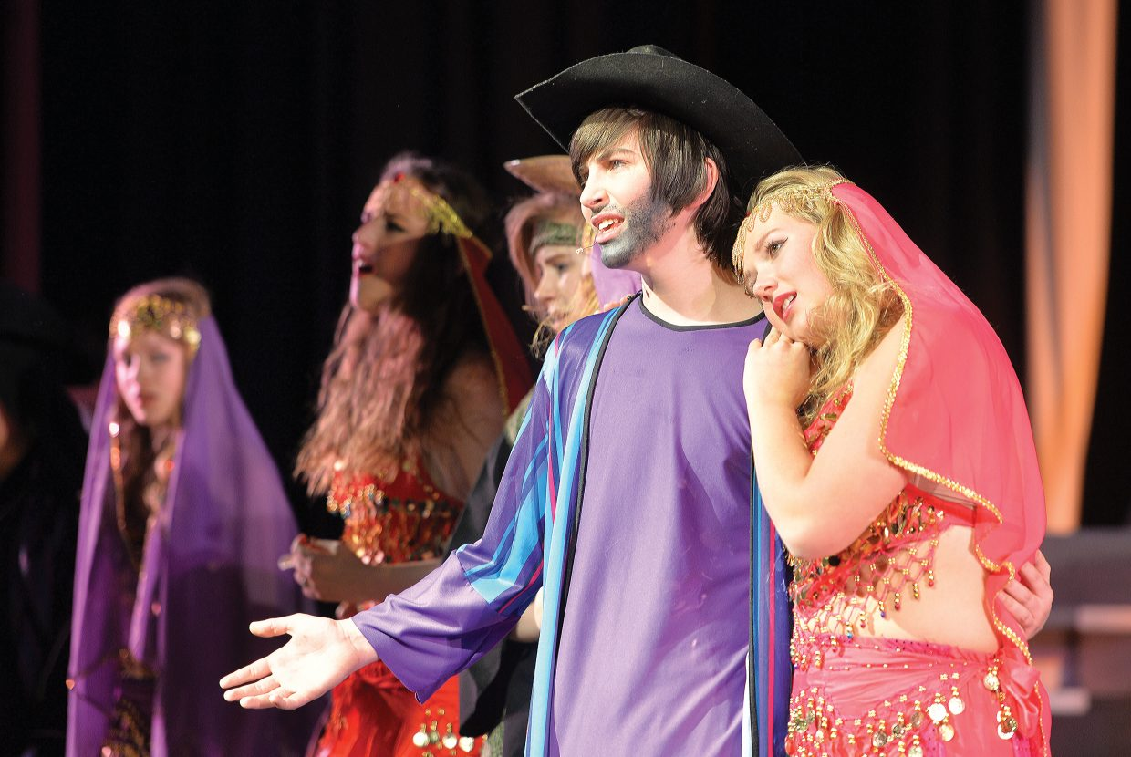 """Henry Tisch and Amanda Walker share a scene during a rehearsal for the Steamboat Springs High School's spring musical """"Joseph and the Amazing Technicolor Dreamcoat"""", which will be in the spotlight this week. The students will take the stage at 6 p.m. Thursday and Friday. There will also be 2 p.m. and 6 p.m. performances on Saturday. All the performances will be held at the Steamboat Springs High School auditorium."""