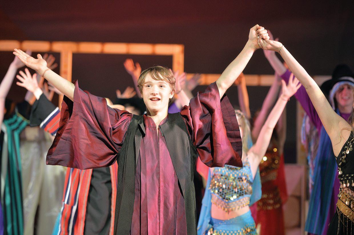 """Jared Clark plays his part during a rehearsal for the Steamboat Springs High School's spring musical """"Joseph and the Amazing Technicolor Dreamcoat"""", which will be in the spotlight this week. The students will take the stage at 6 p.m. Thursday and Friday. There will also be 2 p.m. and 6 p.m. performances on Saturday. All the performances will be held at the Steamboat Springs High School auditorium."""