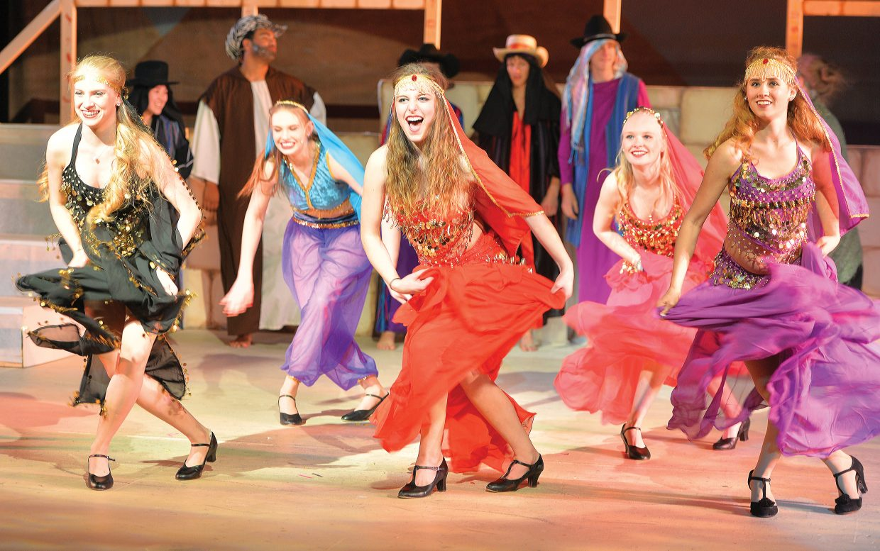 """Dancers, from left to right, Keala Fraioli, McKendry McGown, Caroline Wilson and Reagan Mertz perform during a rehearsal for the Steamboat Springs High School's spring musical """"Joseph and the Amazing Technicolor Dreamcoat"""", which will be in the spotlight this week. The students will take the stage at 6 p.m. Thursday and Friday. There will also be 2 p.m. and 6 p.m. performances on Saturday. All the performances will be held at the Steamboat Springs High School auditorium."""
