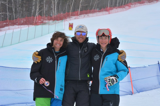 Nico Richeda, coach Erik Gilbert and Marat Washburn pose after a strong weekend of ski racing in Maine.