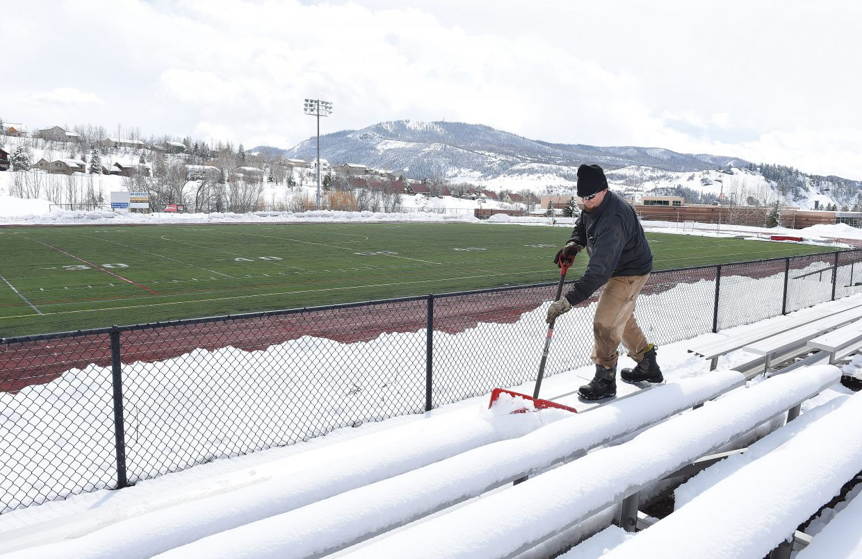 It's that time of year again for Steamboat Springs School district employee Gary Keeling, who spent his Thursday clearing the stands at Gardner Field after this week's spring storms. The stands should be ready for spectators by 4 p.m. Friday when the Steamboat Springs boys high school lacrosse team hosts Evergreen in a non-conference game.