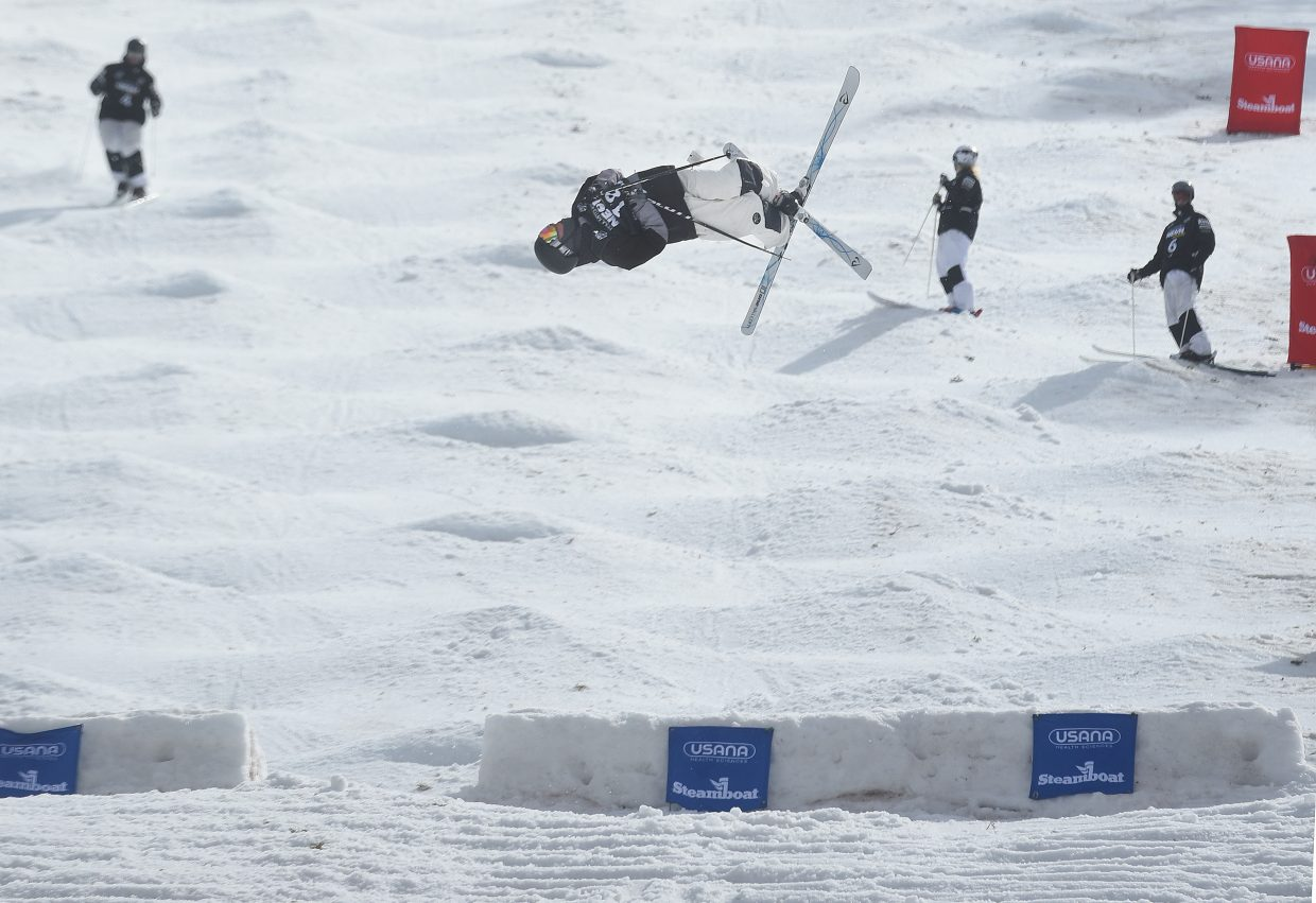 George McQuinn spins off the bottom air Friday during training for the men's finals at the U.S. Freestyle National Championships in Steamboat Springs. McQuinn, from Durango, went on to finish 16th. Steamboat Springs had six skiers, three men and three women, make Friday's finals, including two who finished on the podium.
