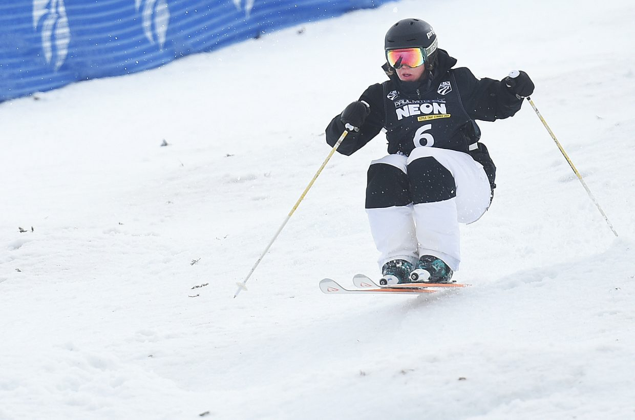 Steamboat's Avital Shimko rips down the Voodoo run moguls course Friday at Steamboat Ski Area en route to a second-place finish in the U.S. Freestyle National Championships. It was Shimko's first podium in the event.