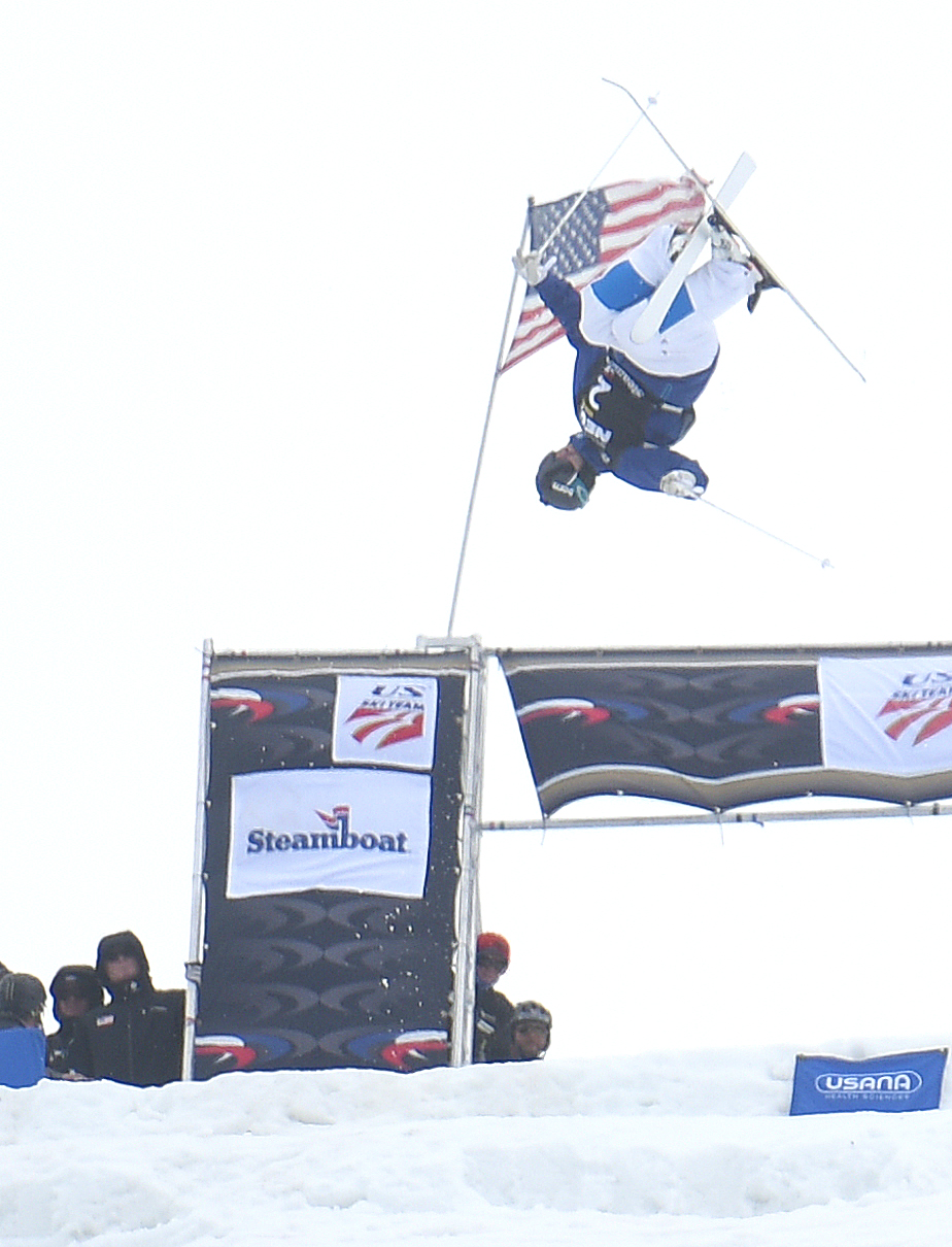 Jeremy Cota flies off the top jump on the Voodoo moguls course at Steamboat Ski Area. Cota placed seventh in the U.S. Freestyle National Championships.