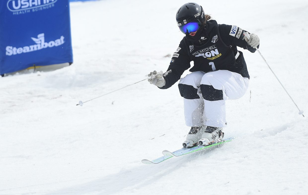 Steamboat Springs moguls skier Jaelin Kauf cuts down Voodoo run at Steamboat Ski Area on Friday during the U.S. Freestyle National Championships women's finals. Kauf placed third.